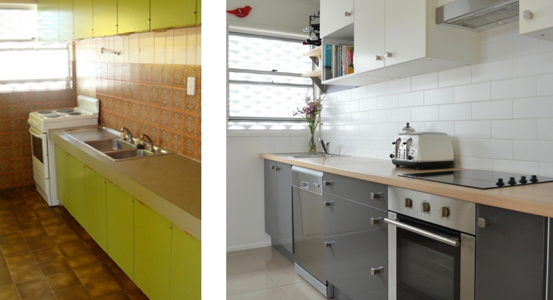 Timber laminate benchtop, green kitchen, grey kitchen sunshine coast