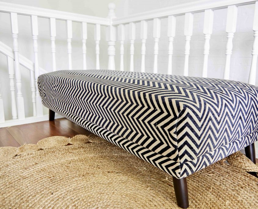 Jute Rug and Black and White Chevron Bench designed by Box Clever Interoiors