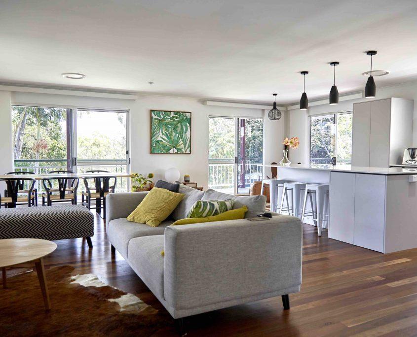 Grey Sofa, Yellow Cushions and White Stools, Sunshine Coast House