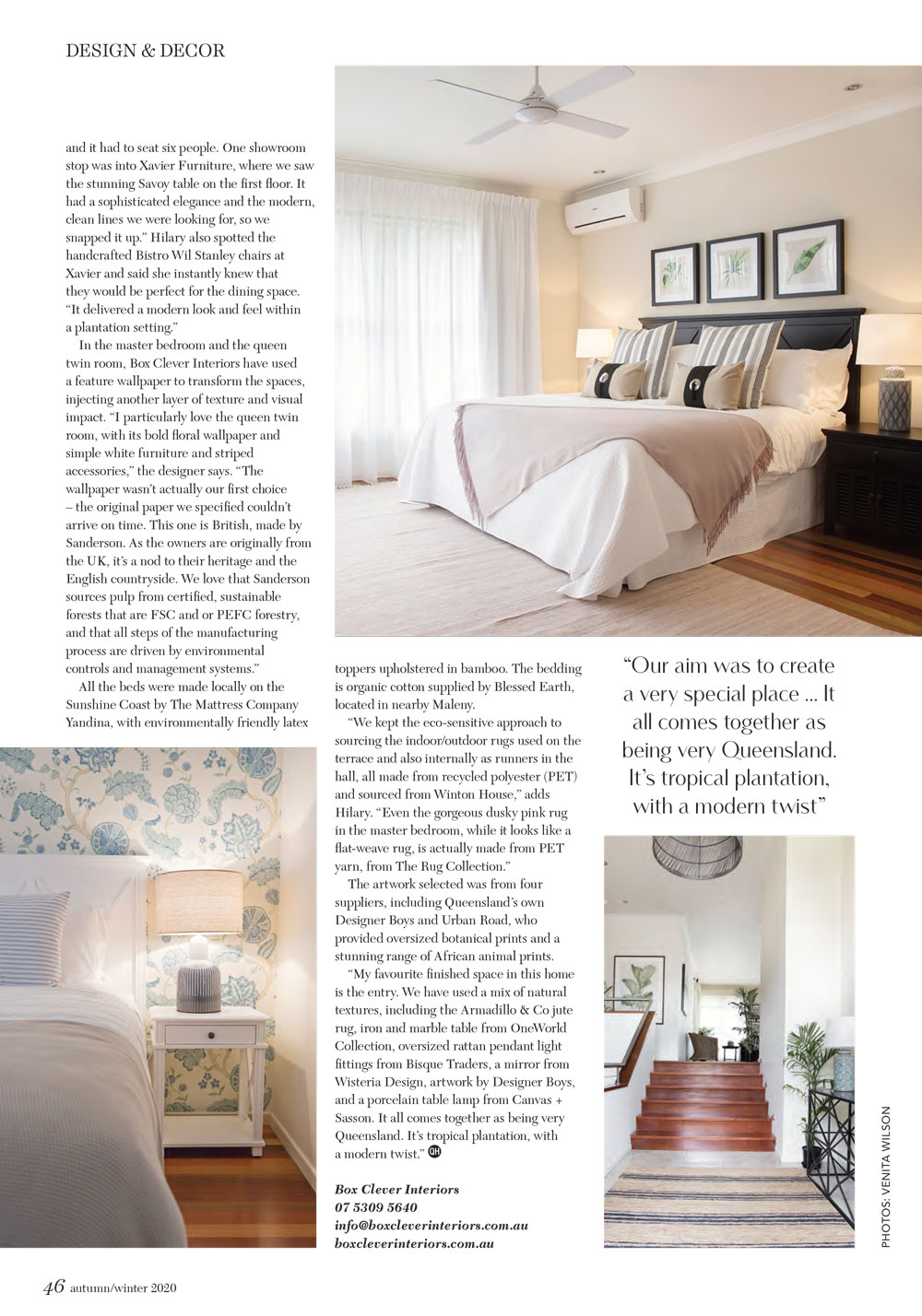 Queensland Homes article Box Clever Interiors