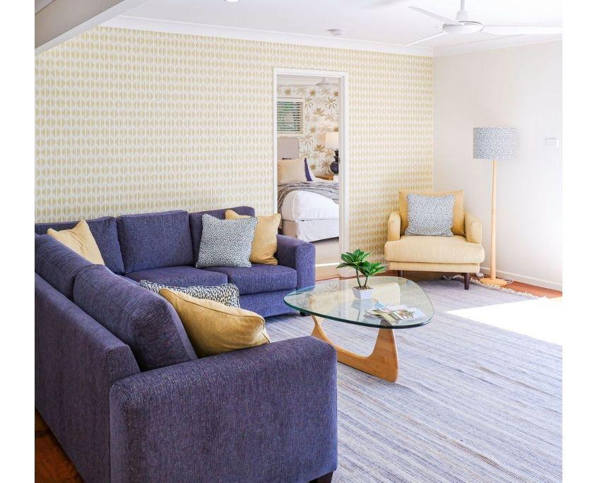 Yellow wallpaper lounge by schumacher